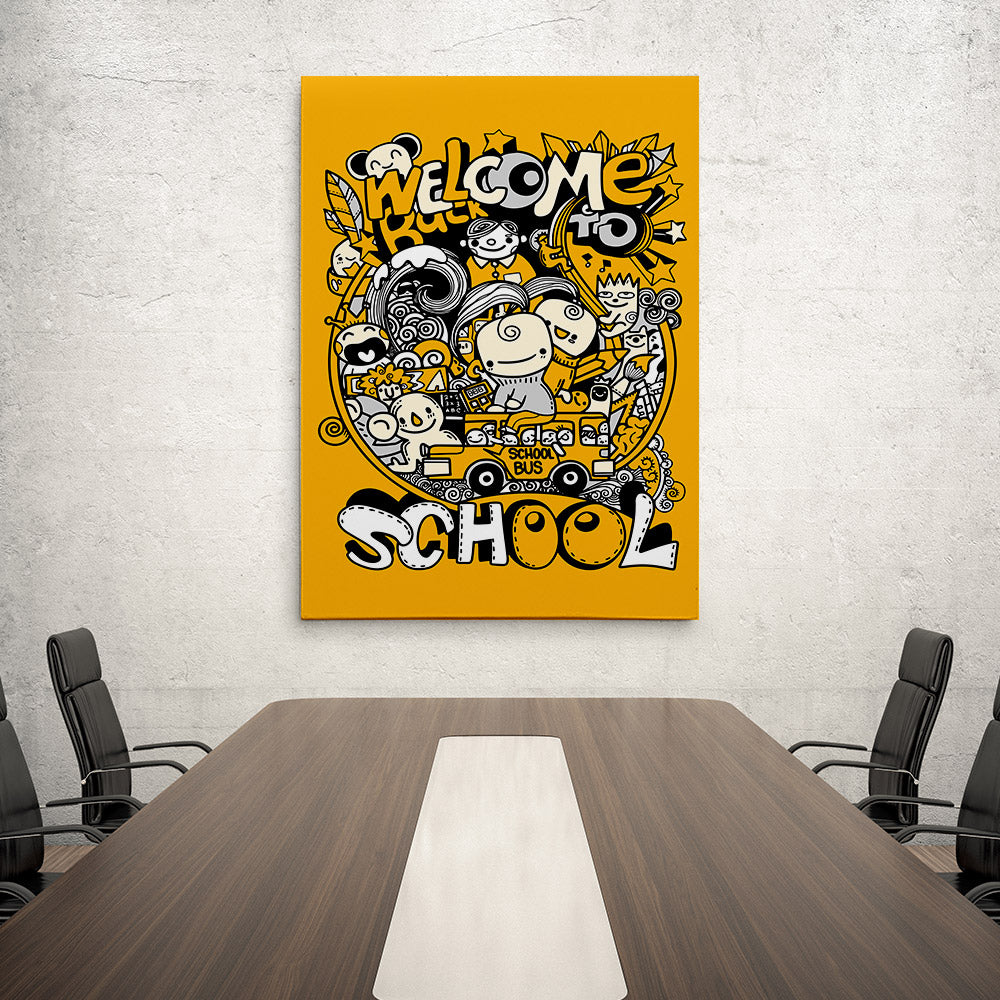 School Doodles Canvas Wall Art