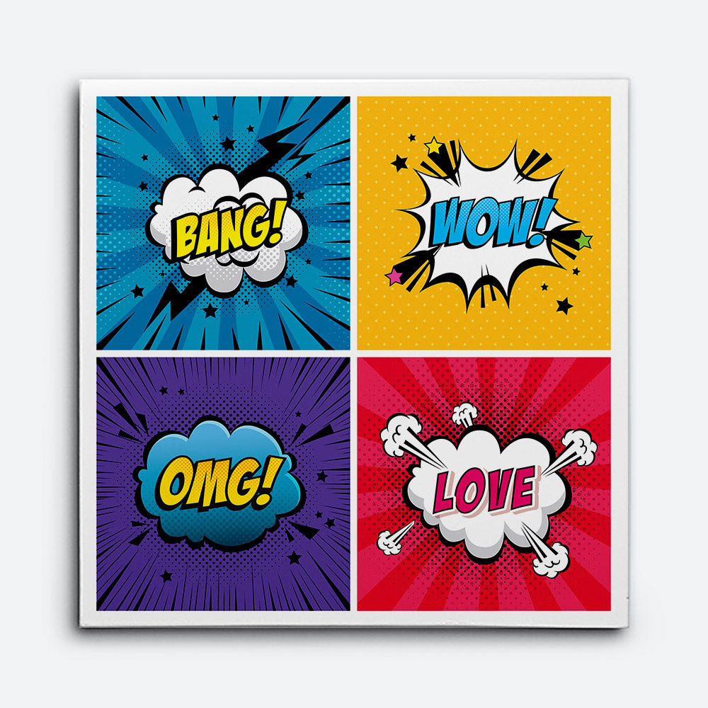 Set Expressions Style Pop Art Canvas Wall Art