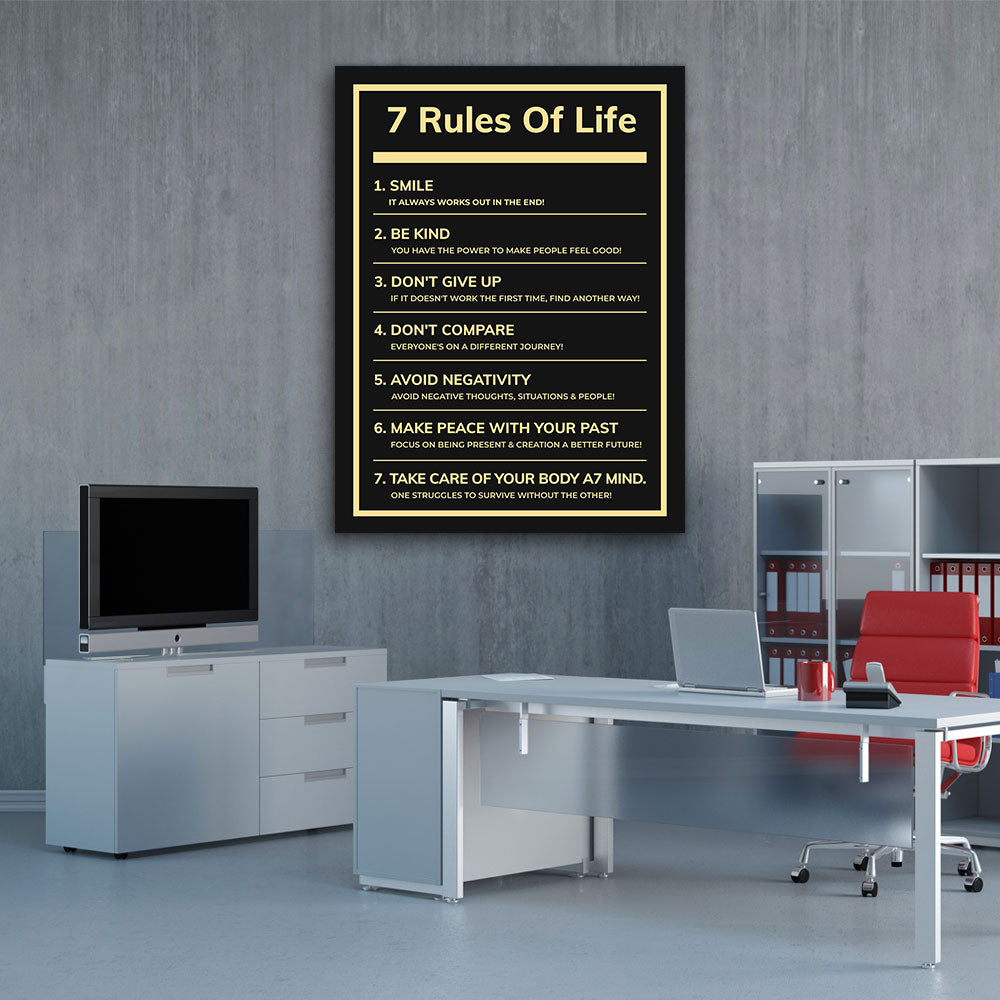 7 Rules Of Life Motivational Inspirational Canvas Wall Art