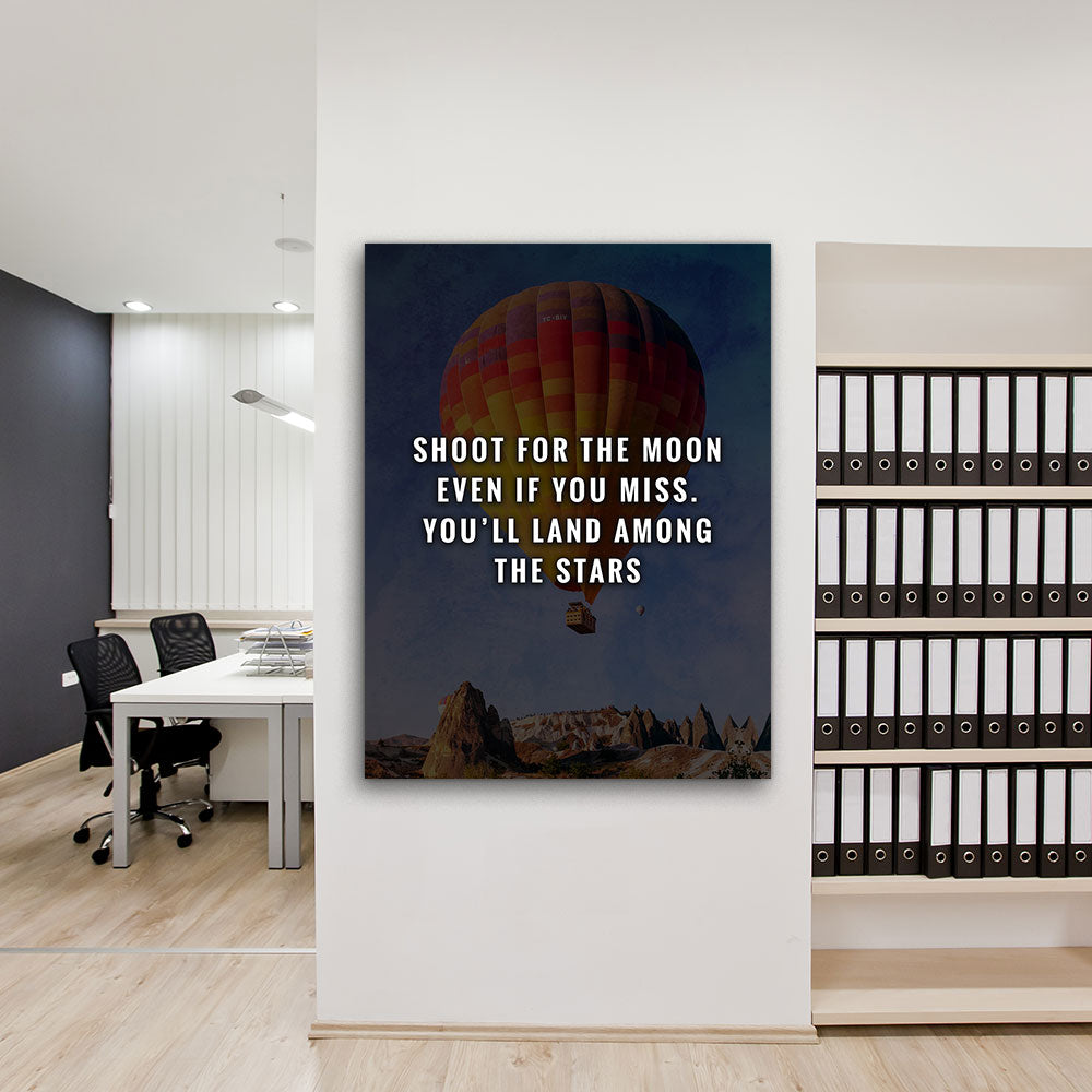 Shoot For The Moon Motivational Inspirational Canvas Wall Art