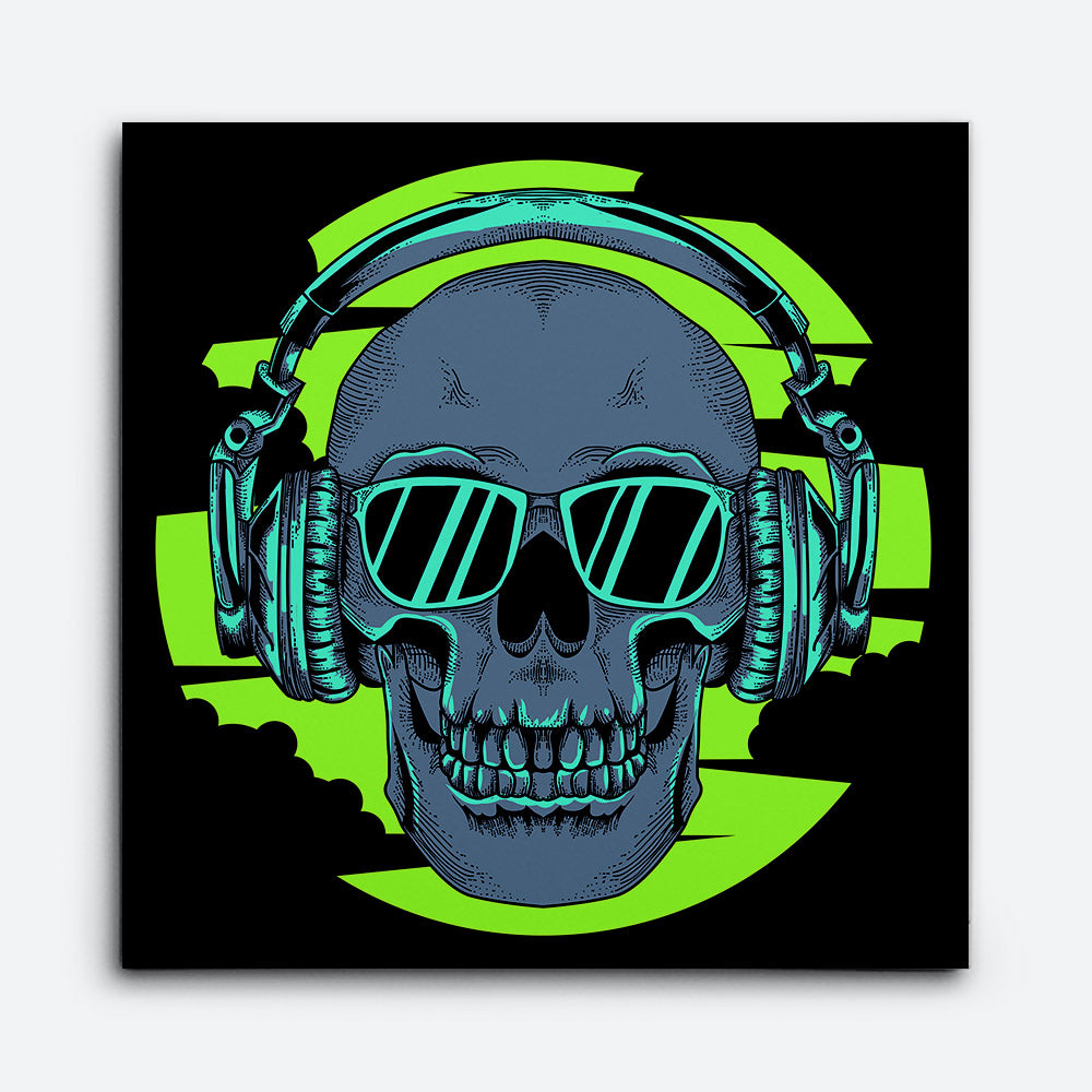 Skull With Glasses Headset Canvas Wall Art