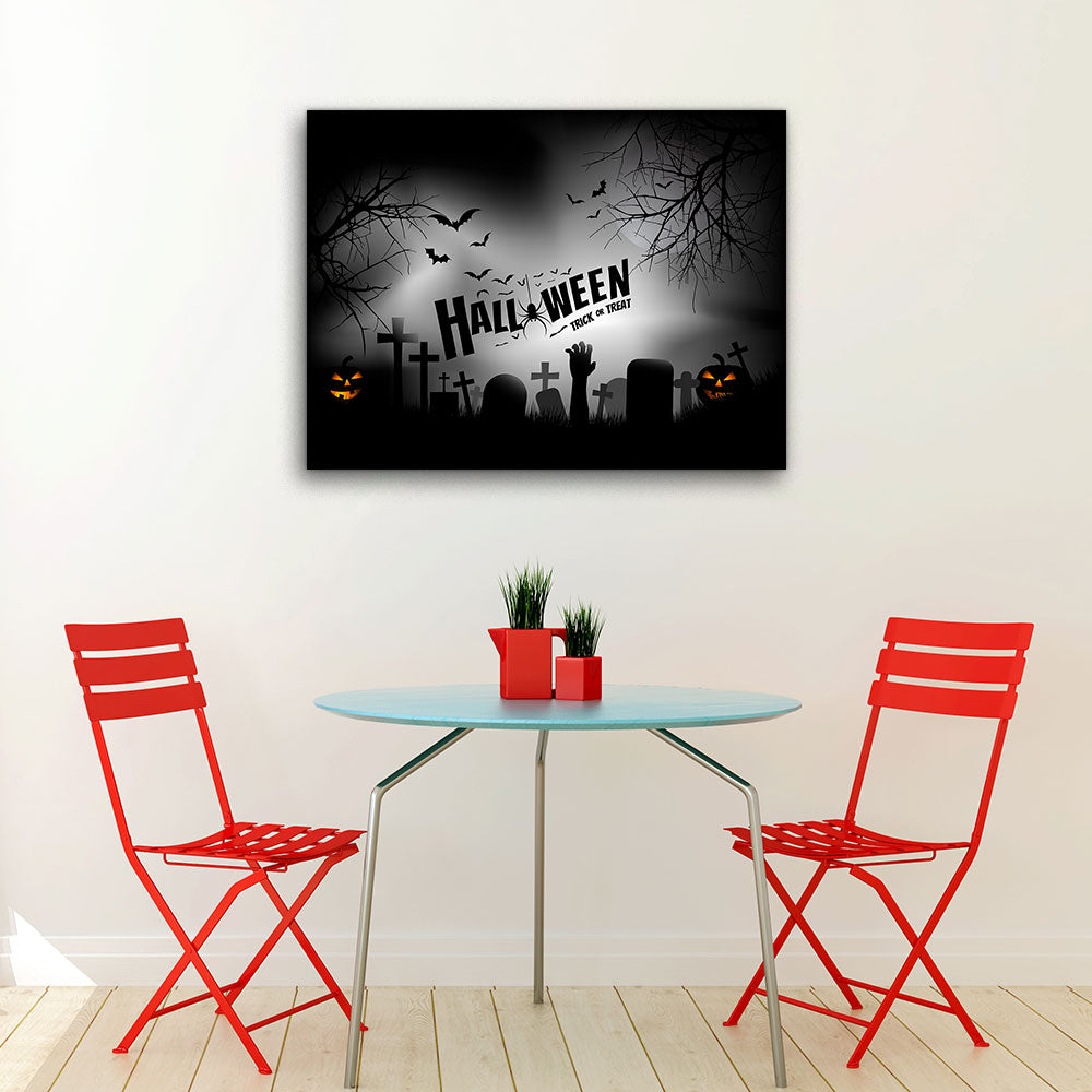 Spooky Graveyard With Zombie Canvas Wall Art