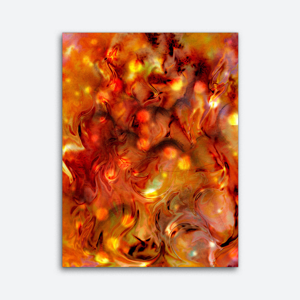 Spots Fire Abstract Canvas Wall Art v2