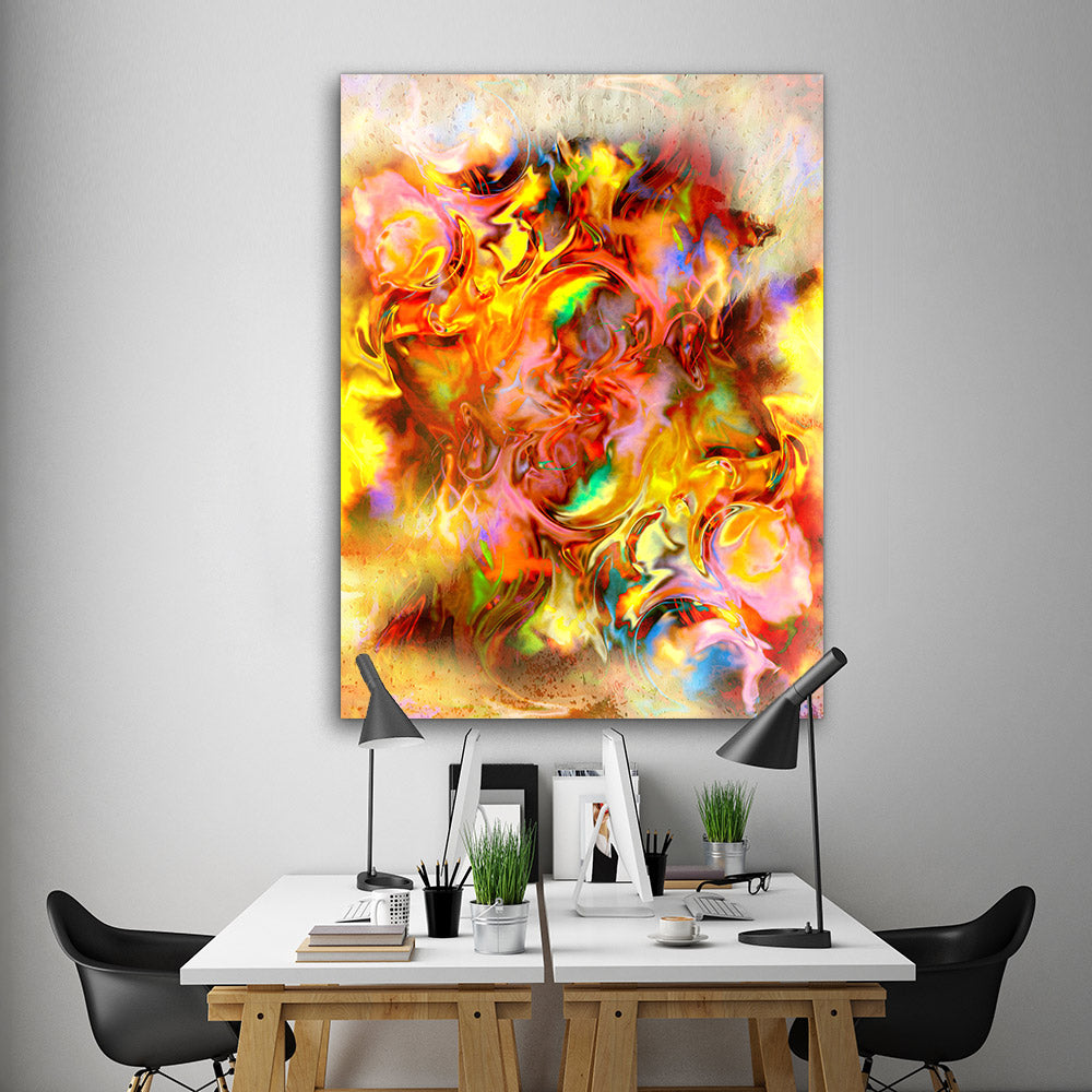 Spots Fire Abstract Canvas Wall Art