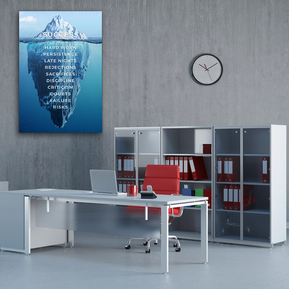 Success Iceberg Motivational, Inspirational Canvas Wall Art