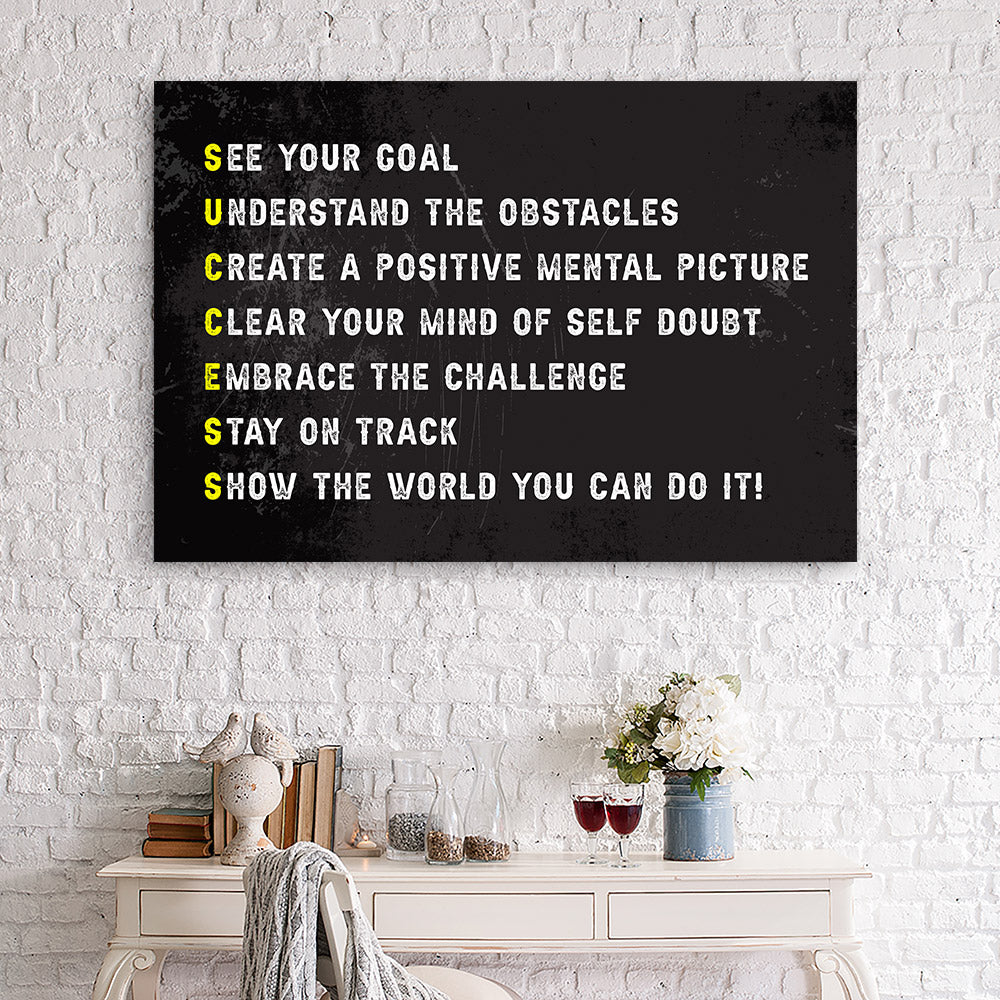 Success Ingredients Canvas Wall Art for your Home or Office. Motivational, inspirational and modern canvas wall art for your Home or Office.