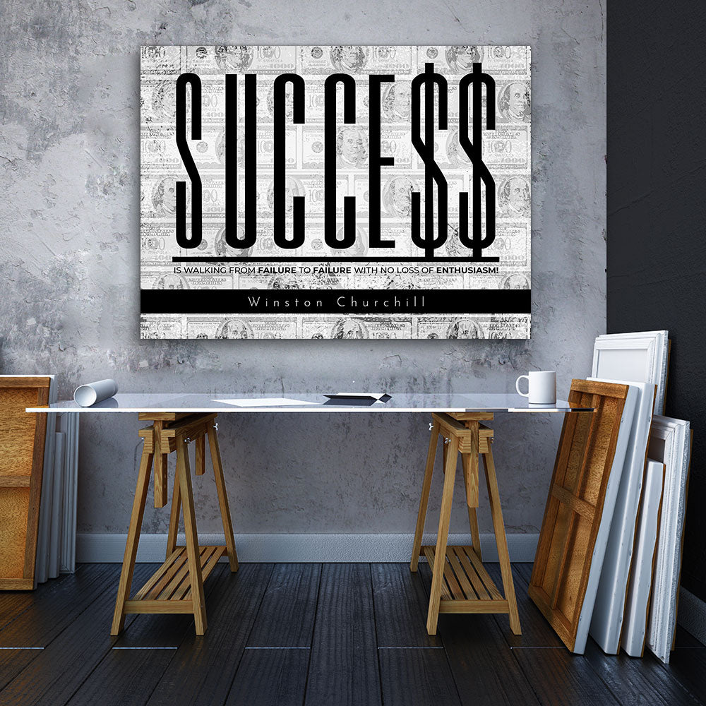 Success Enthusiasm Motivational Inspirational Canvas Wall Art