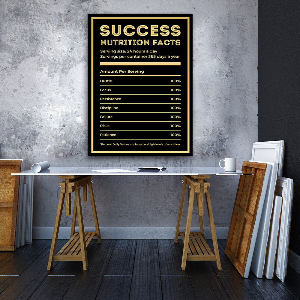 Success Nutrition Facts Canvas Wall Art for your Home or Office. Motivational, inspirational and modern canvas wall art for your Home or Office.