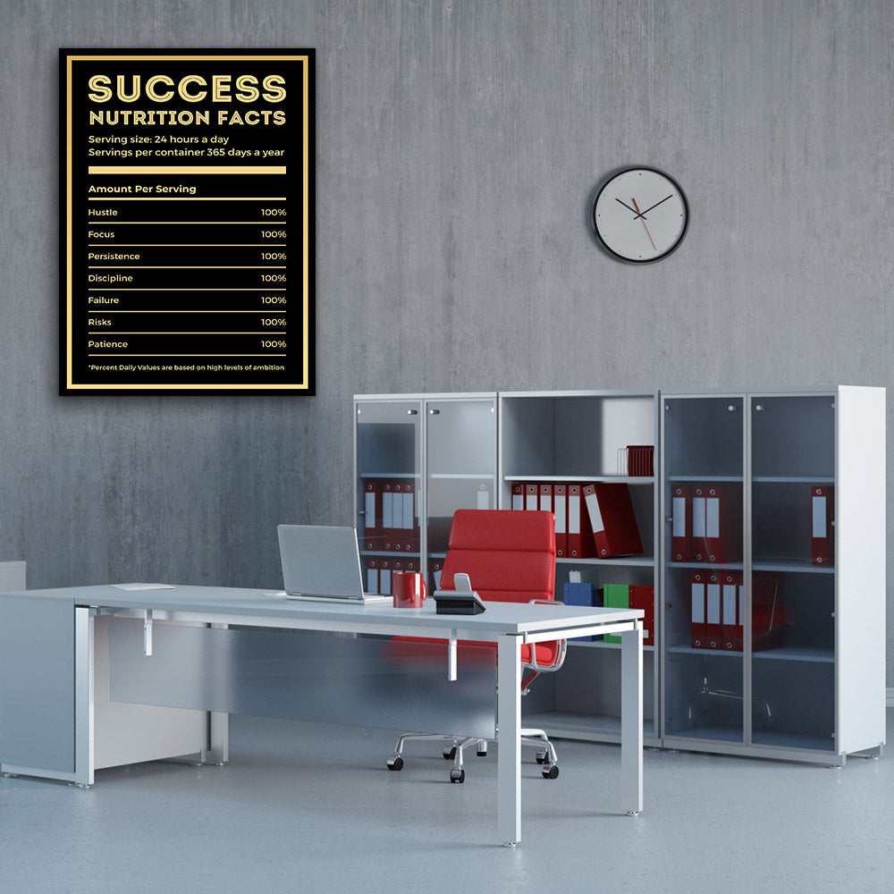 Success Nutrition Facts Canvas Wall Art