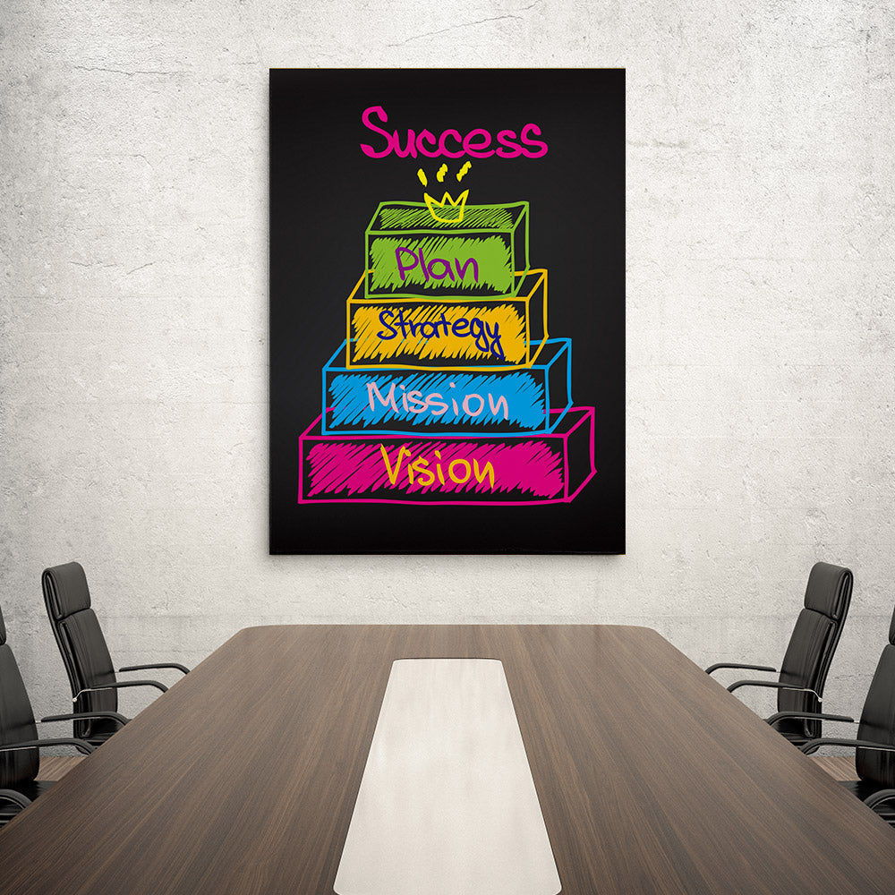 Success, Plan, Strategy, Mission, Vision Canvas Wall Art for your Home or Office. Motivational, inspirational and modern canvas wall art for your Home or Office.