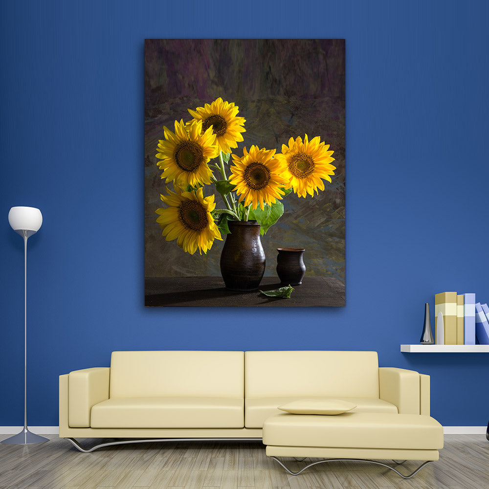Sunflowers Vase Flower Canvas Wall Art