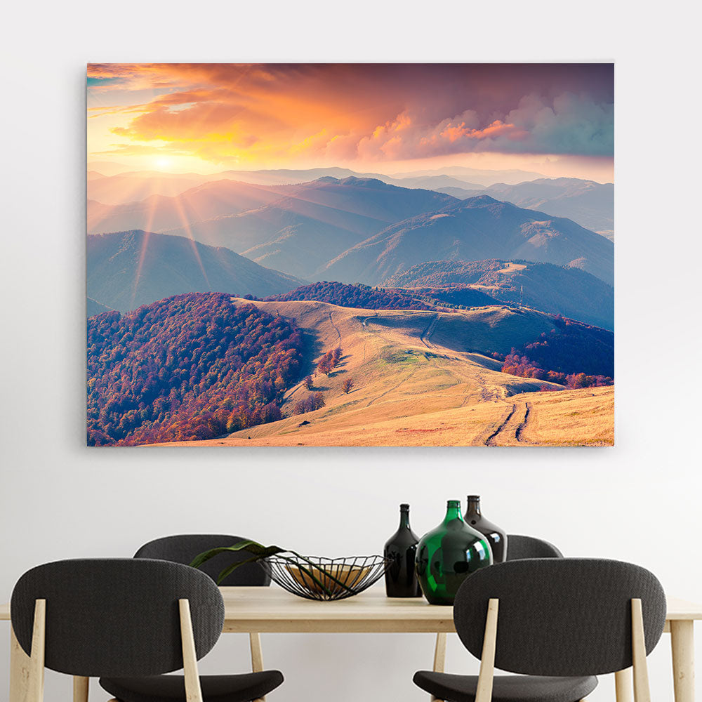 Sunrise in The Carpathian Mountains Canvas Wall Art