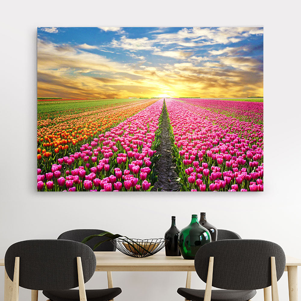 Sunrise over Tulip Field Canvas Wall Art