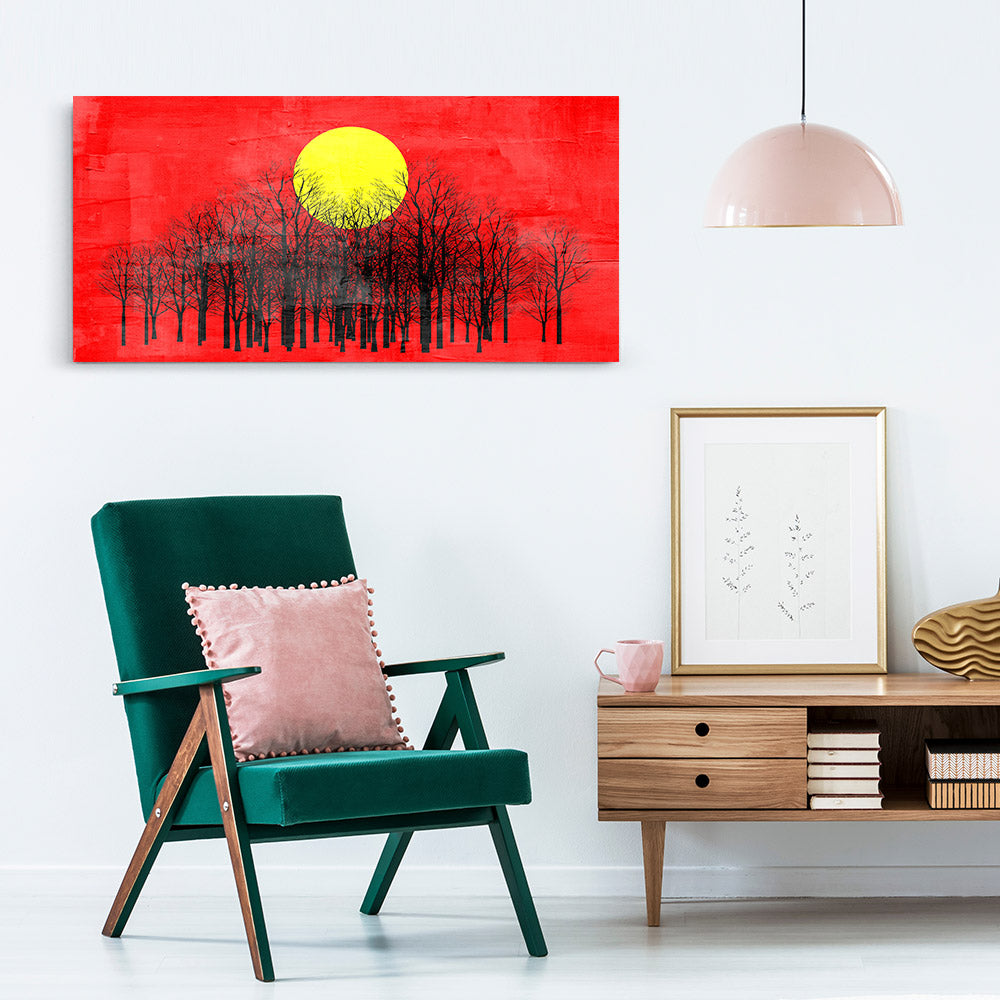 Red Sunset Abstract Painting Canvas Wall Art