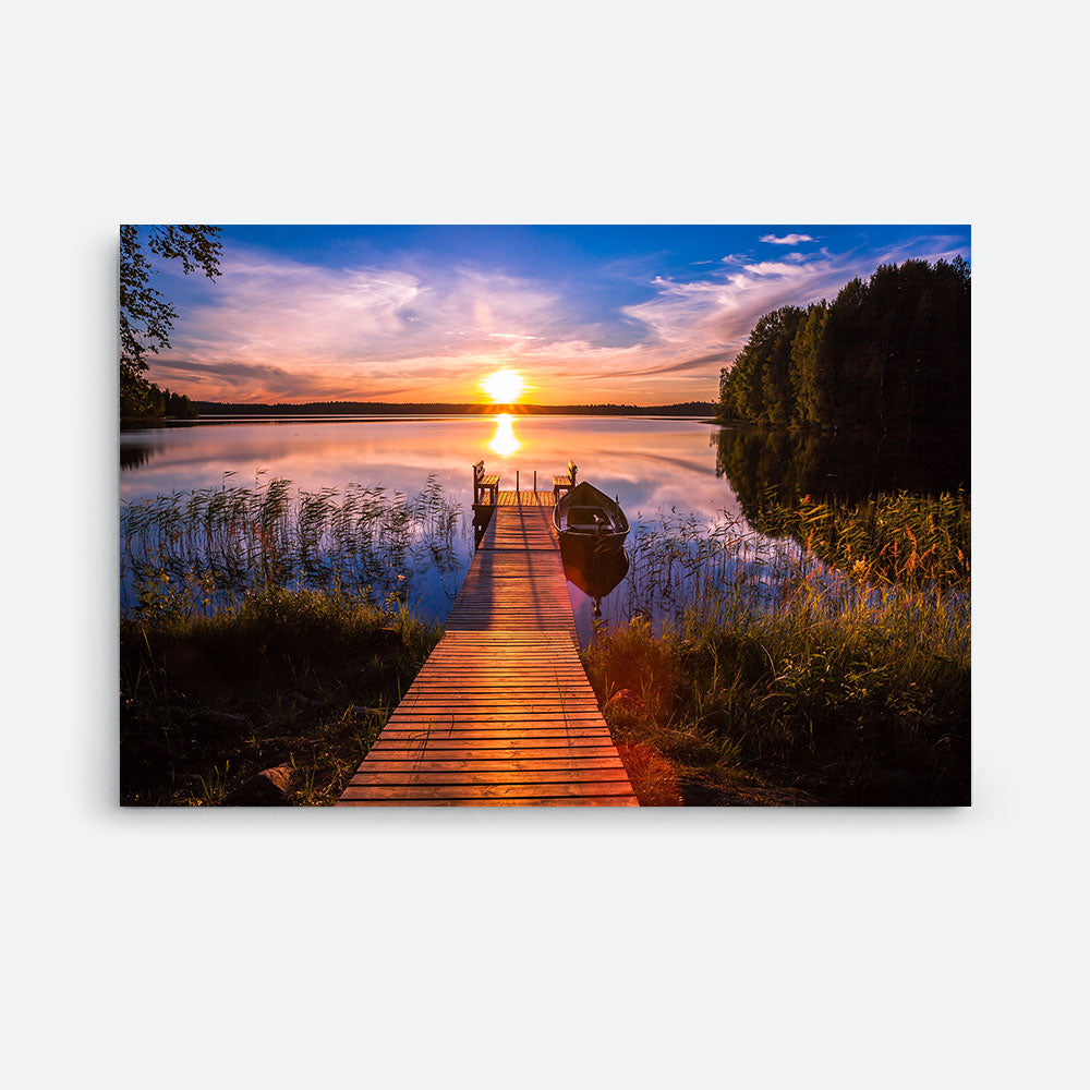 Sunset Fishing Pier at Lake Canvas Wall Art