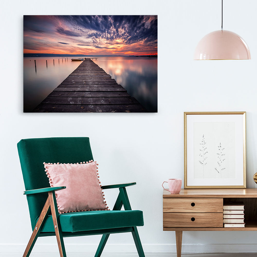 Sunset Boats and Wooden Pier Canvas Wall Art
