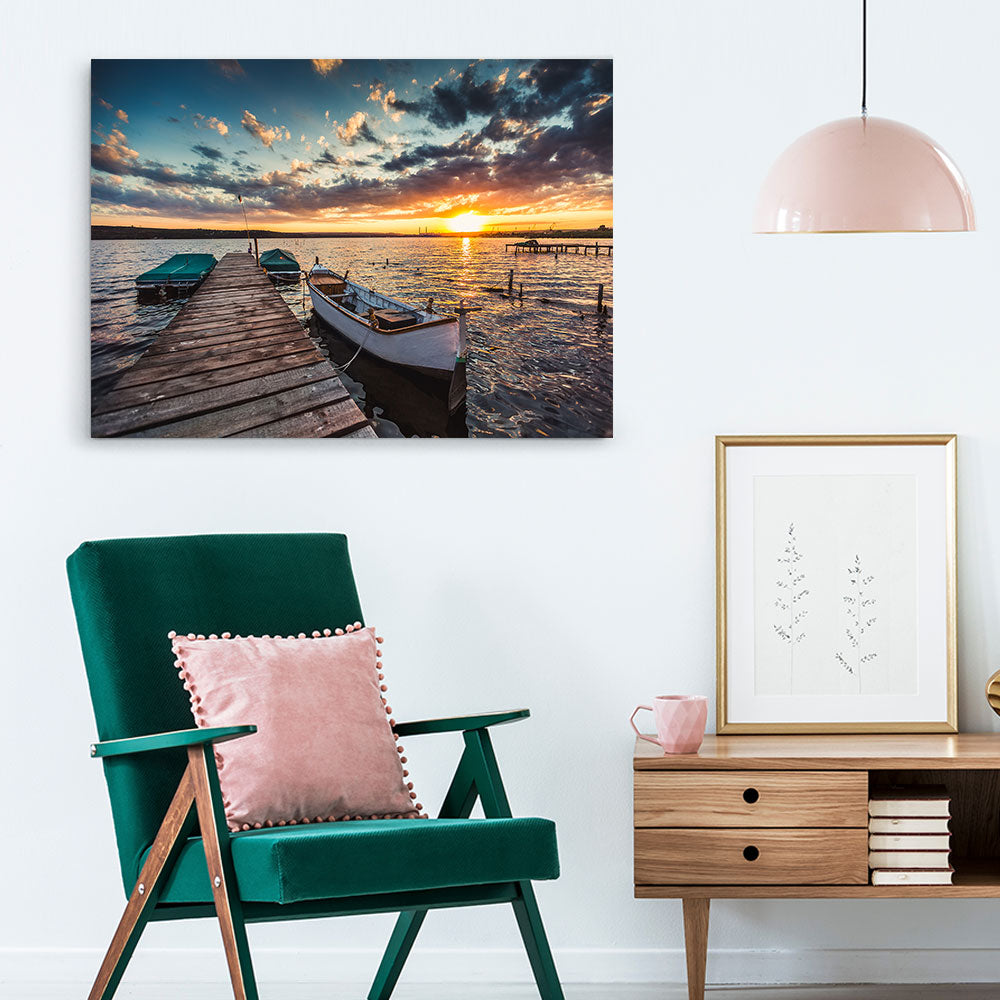Sunset with Sky and Boats Canvas Wall Art