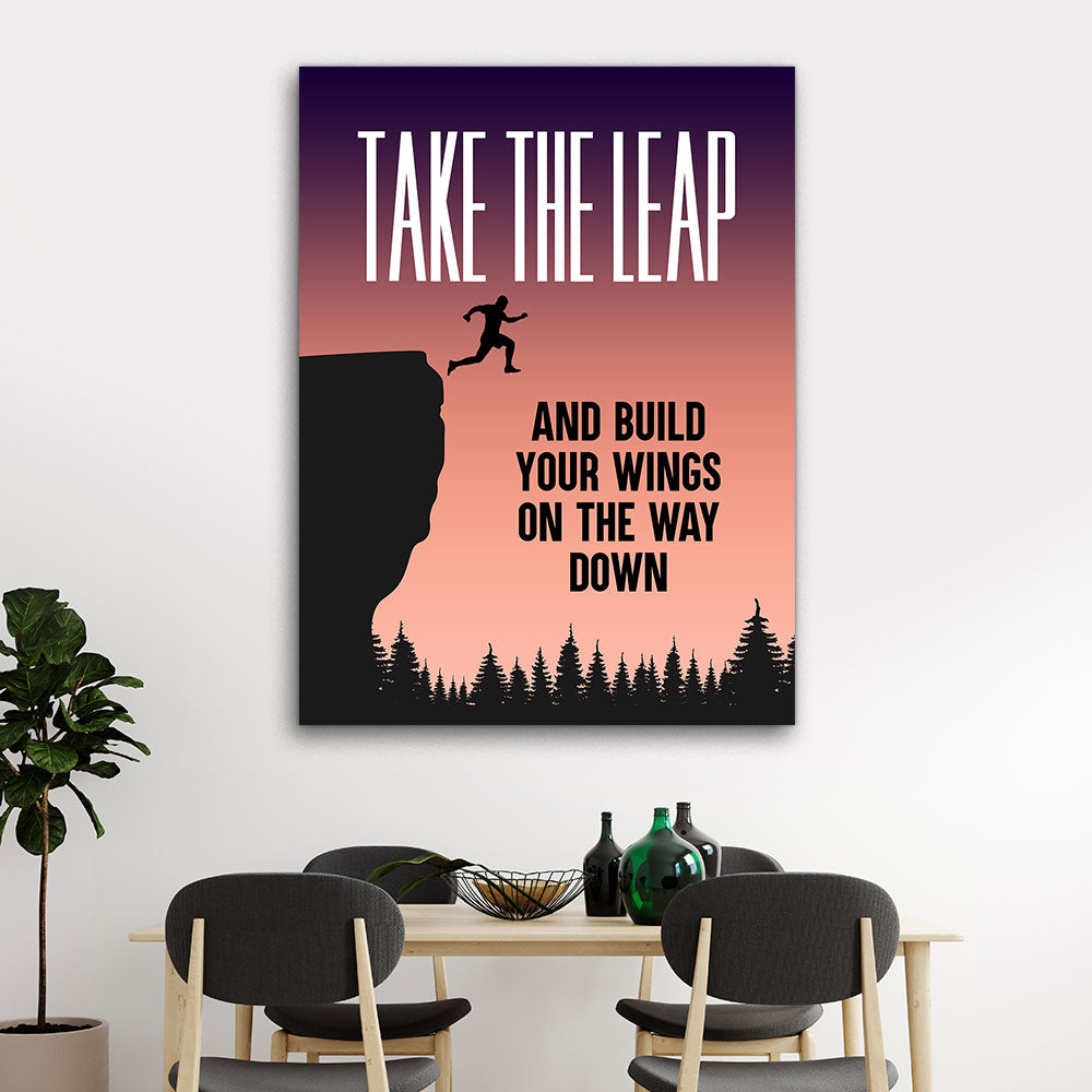 Take The Leap Motivational Inspirational Canvas Wall Art