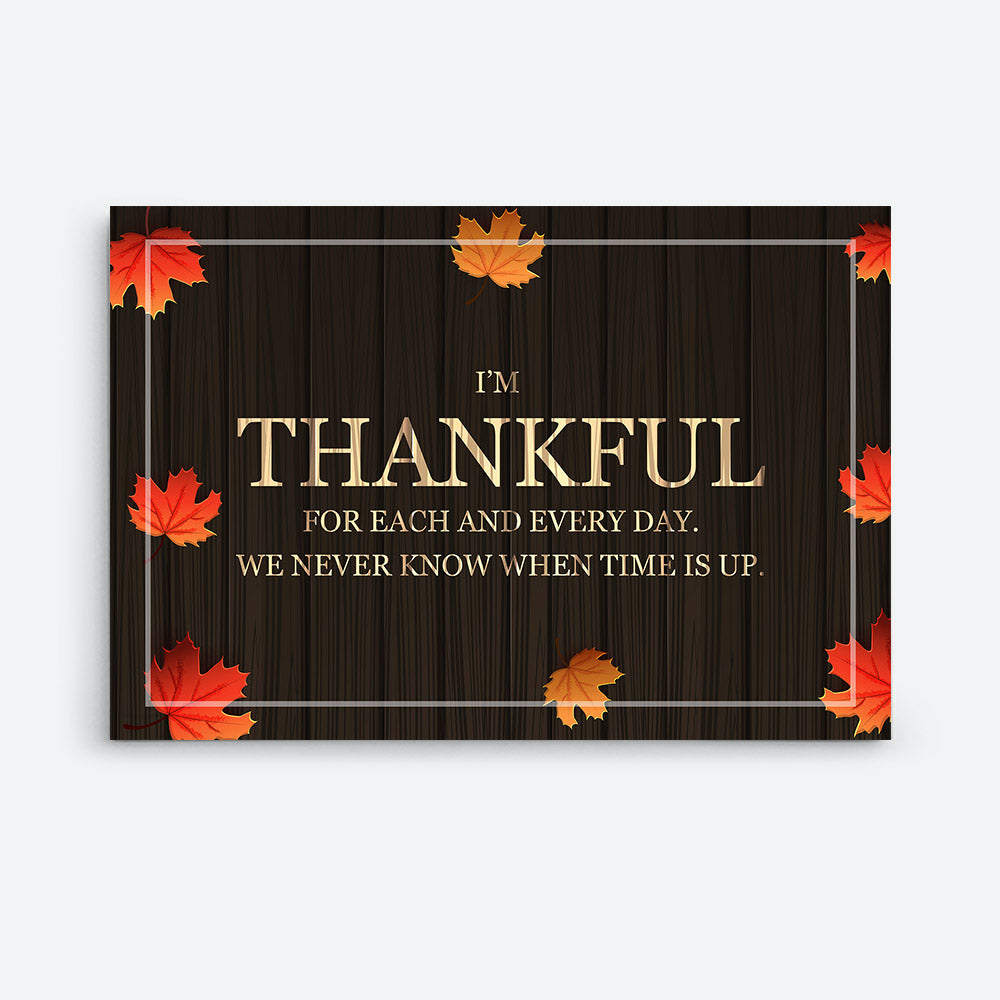 Thankful for Each and Every Day Quote Canvas Wall Art