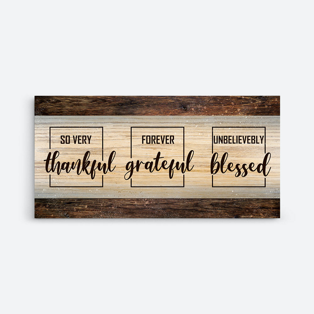 Thankful Quote Thankful Grateful Blessed Canvas Wall Art