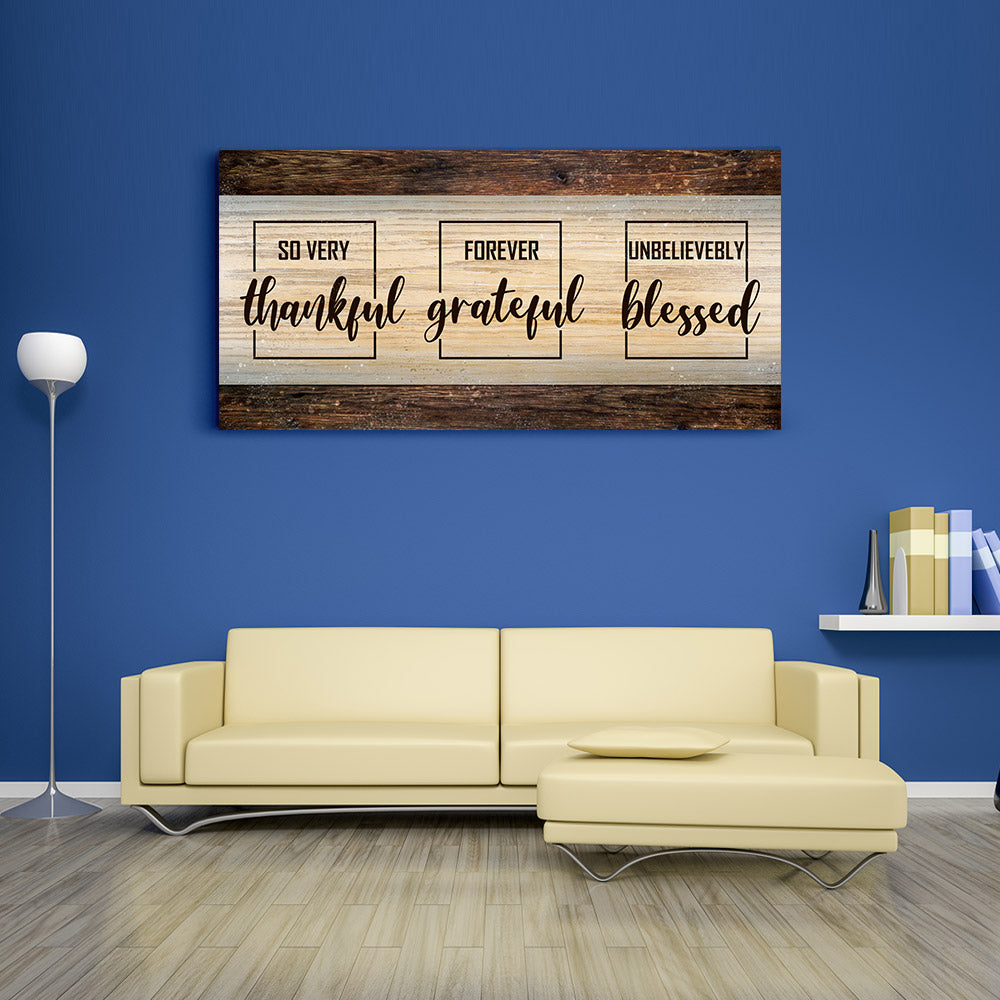 Thankful Grateful Blessed Canvas Wall Art