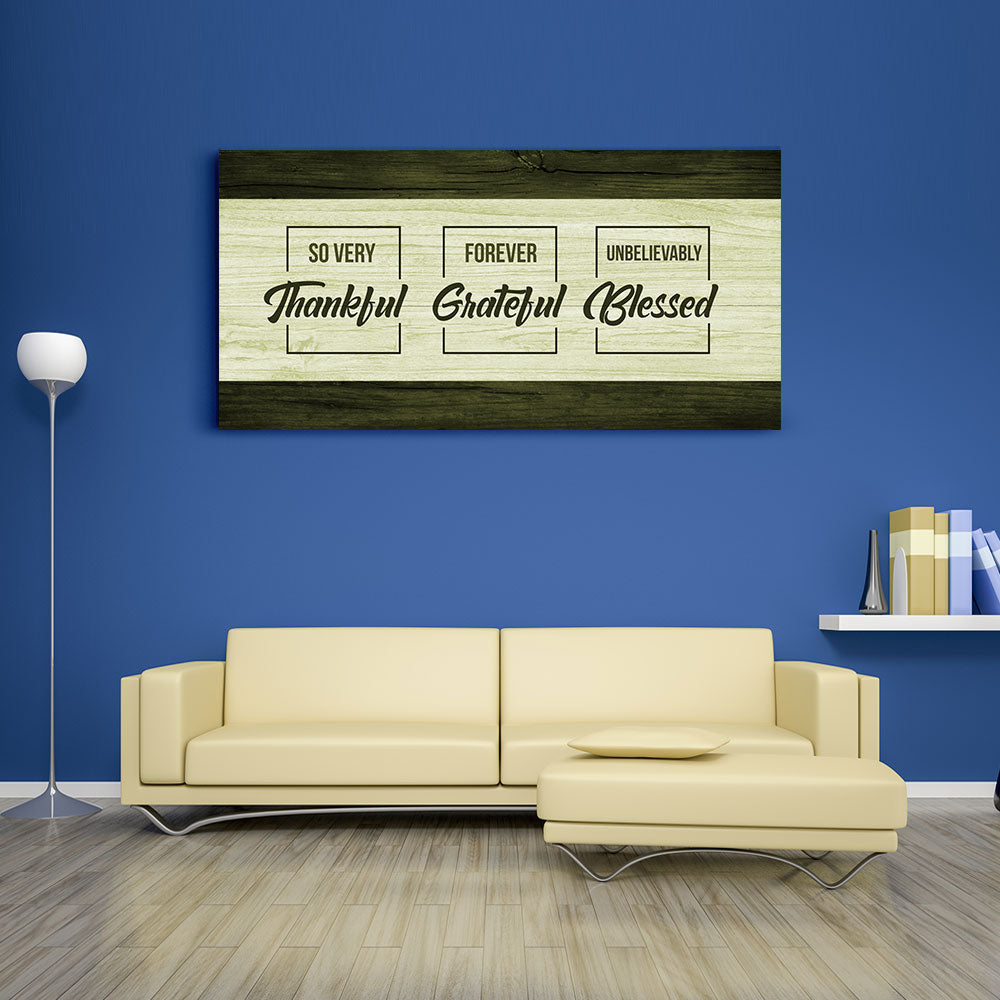 Thankful Quote Thankful Grateful Blessed Canvas Wall Art V2
