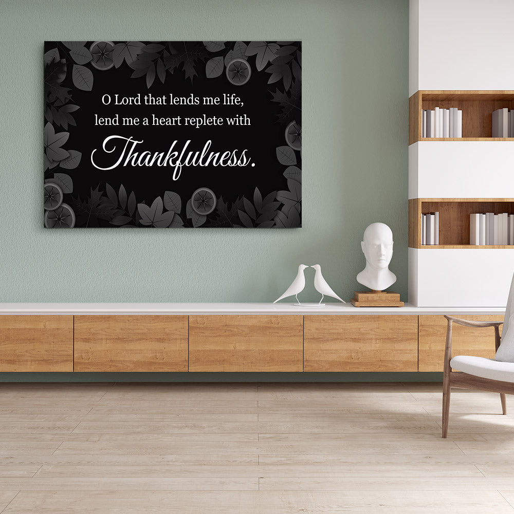Thankfulness Quote Canvas Wall Art