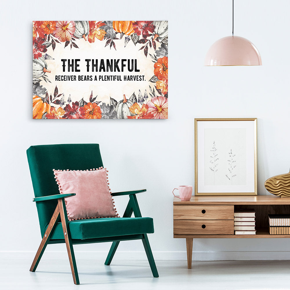 Thankful Quote Canvas Wall Art