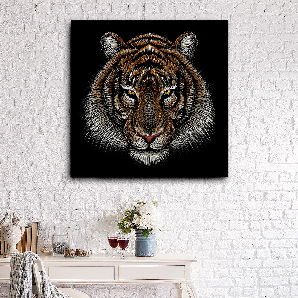 Tiger Head Canvas Wall Art