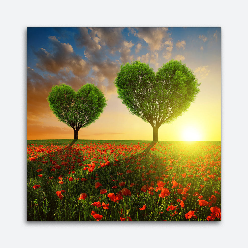 Trees Heart Sunset Canvas Wall Art