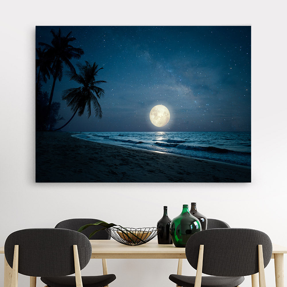 Tropical Beach Palm Tree in Night Canvas Wall Art