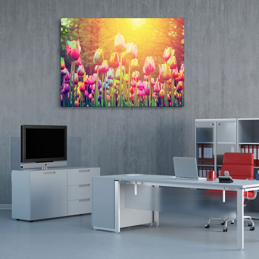 Tulips Park Flower Canvas Wall Art