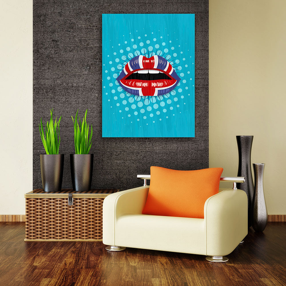 Decorate your walls with UK Flag Lips wall art, canvas prints from Makemyprints!