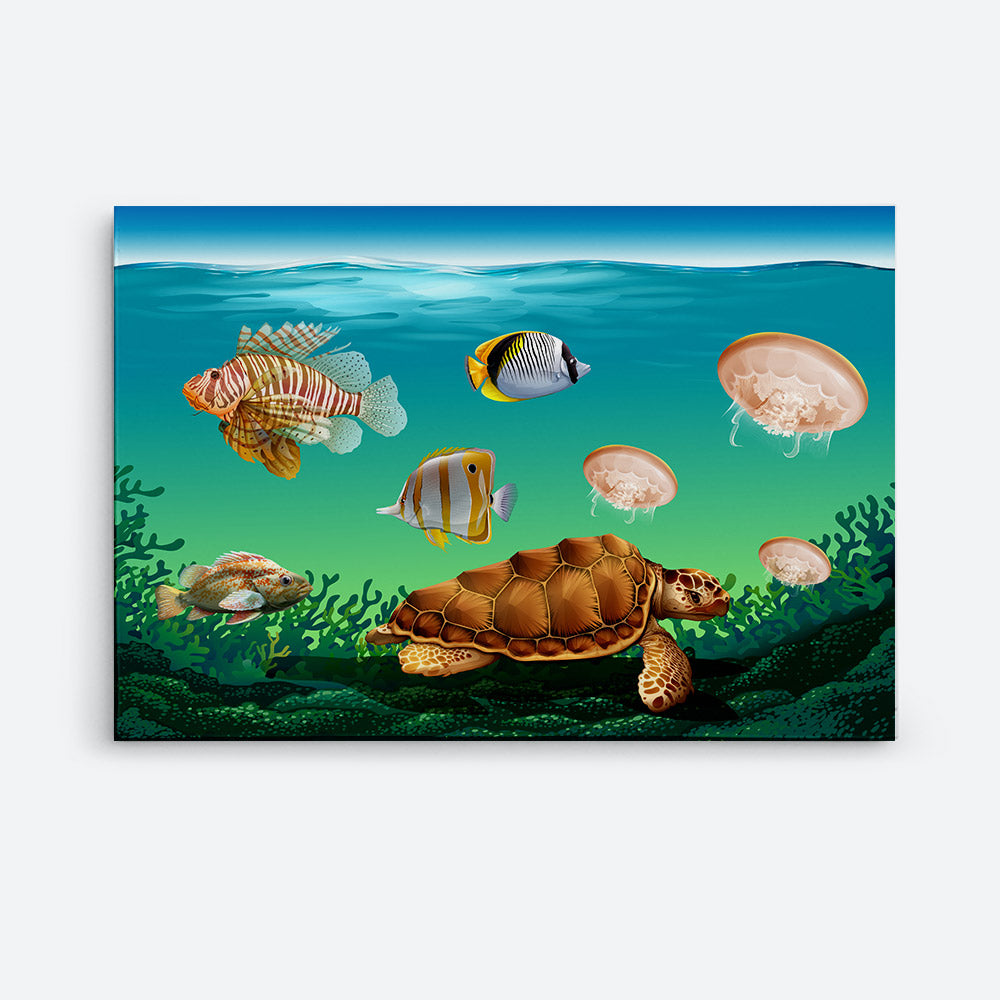 Underwater Scene With Many Sea Animals Canvas Wall Art