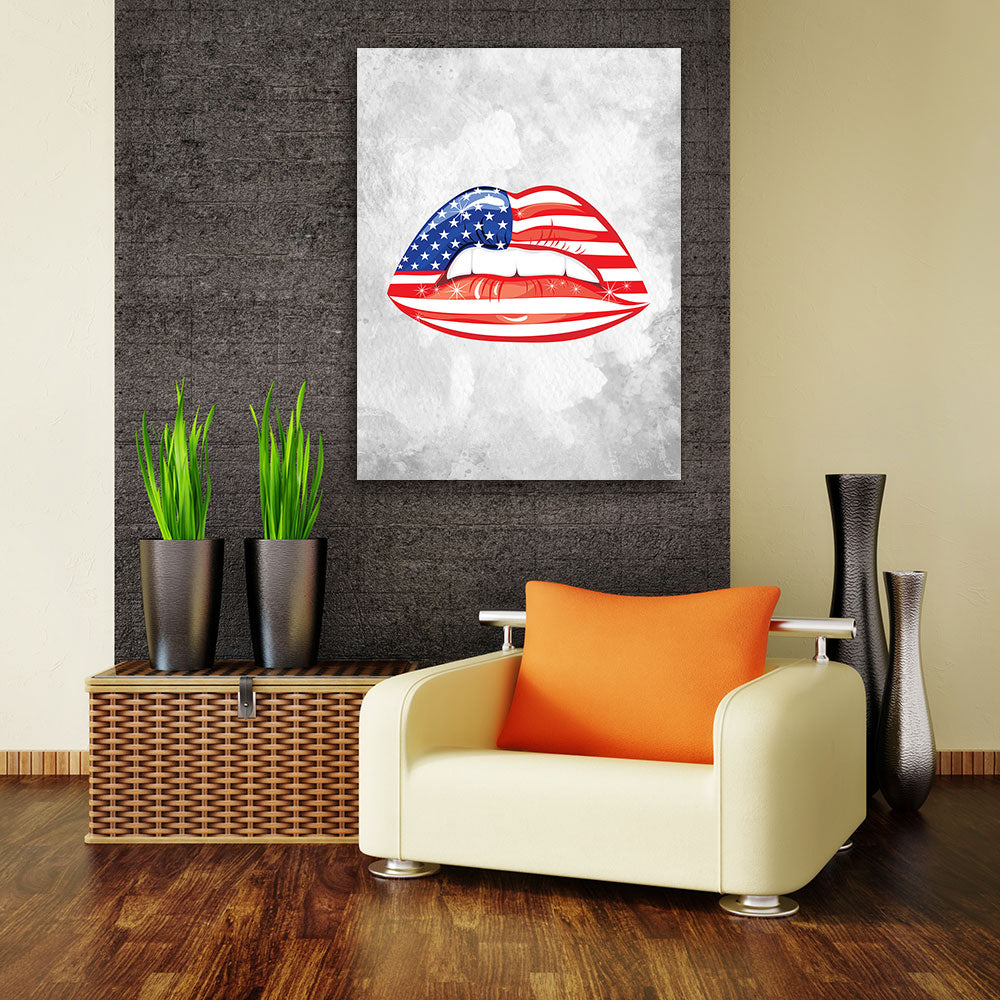 Decorate your walls with USA Flag Sensuality Lips wall art, canvas prints from Makemyprints!