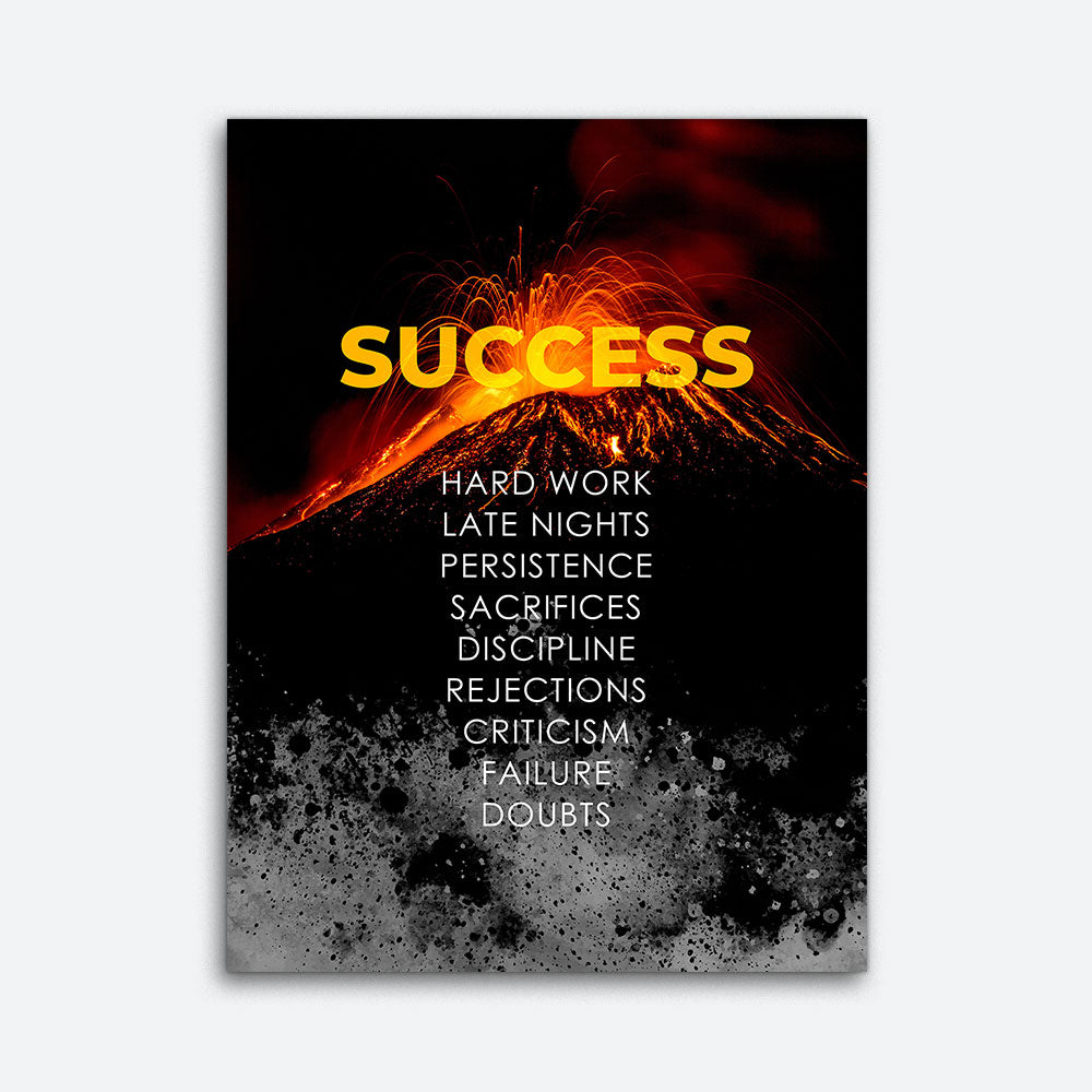 Volcano Success Value Motivational Inspirational Canvas Wall Art
