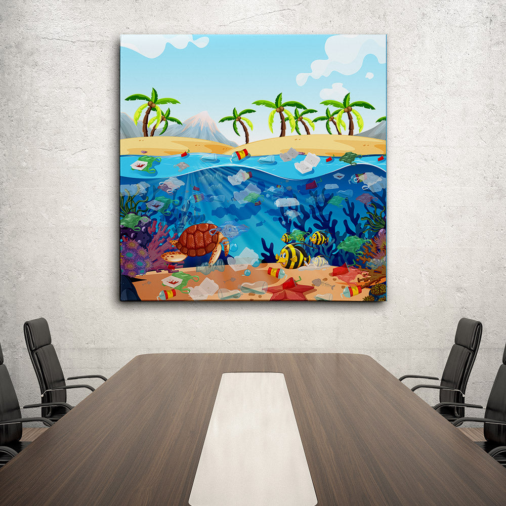 Water Pollution With Plastic Bags Ocean Canvas Wall Art