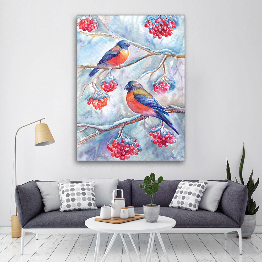 Watercolor Bullfinches Flower Canvas Wall Art
