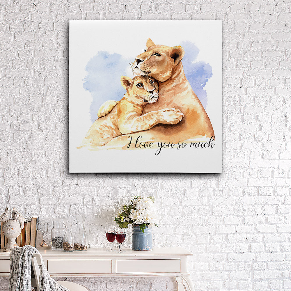 Watercolor Lion Mom Son Canvas Wall Art