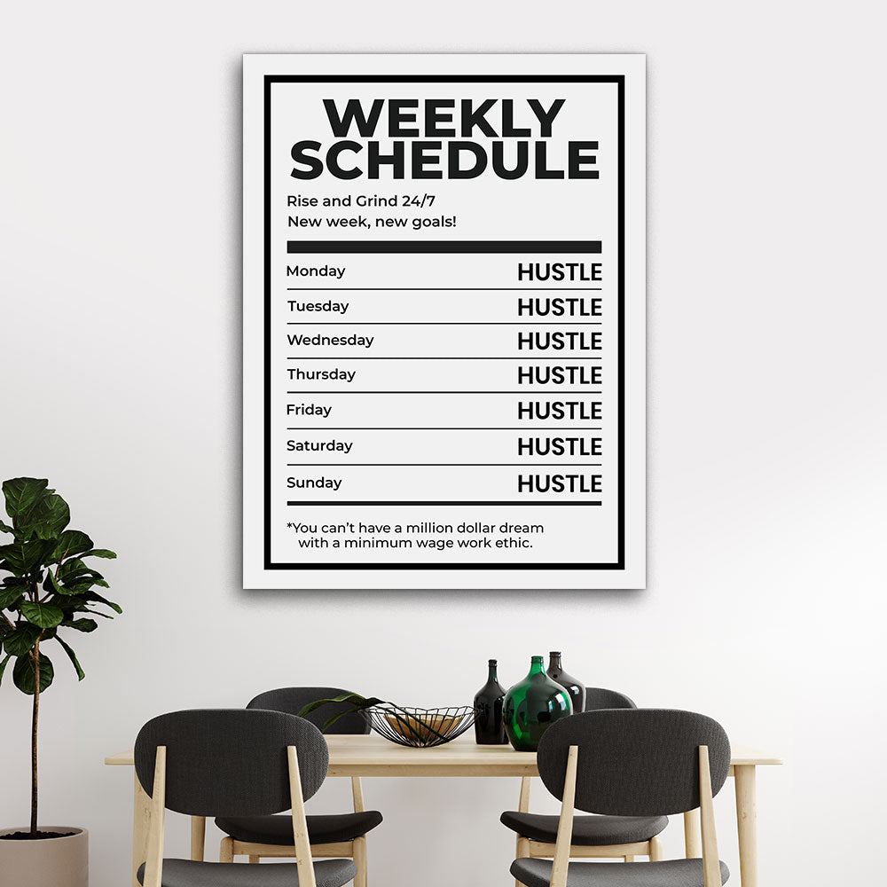 Weekly Schedule Motivational Inspirational Canvas Wall Art
