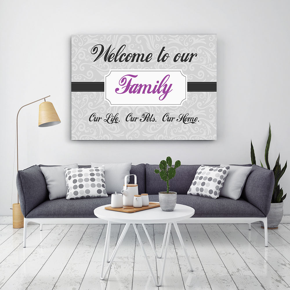 Welcome To Our Family Canvas Wall Art