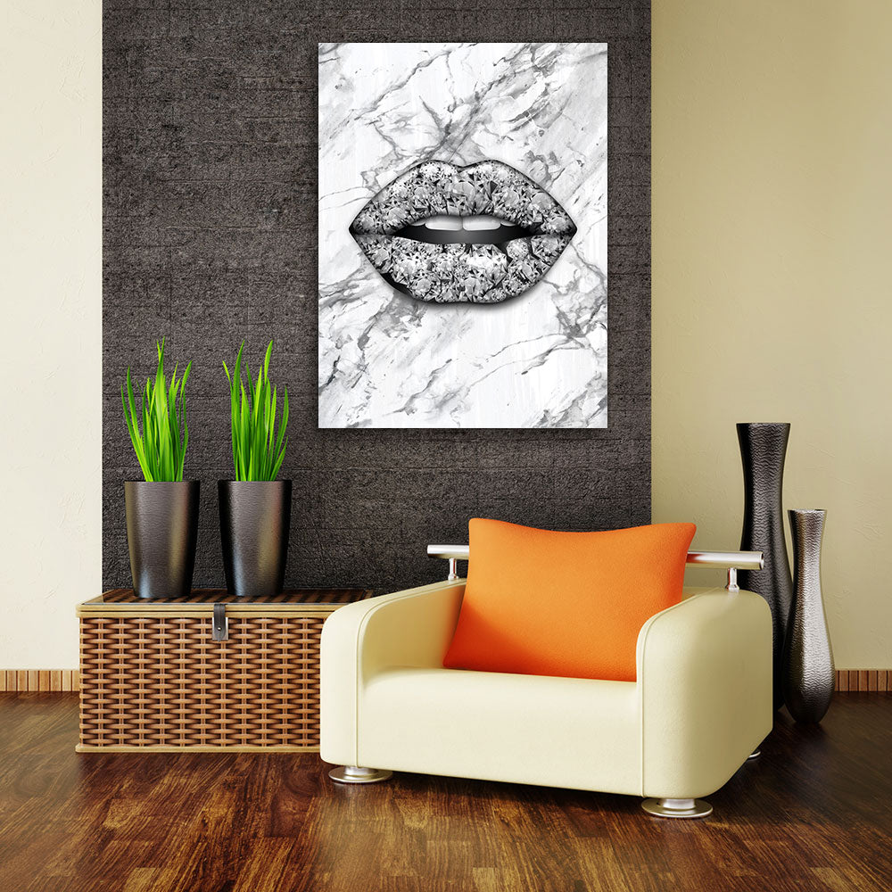 Decorate your walls with White Diamond Lips wall art, canvas prints from Makemyprints!