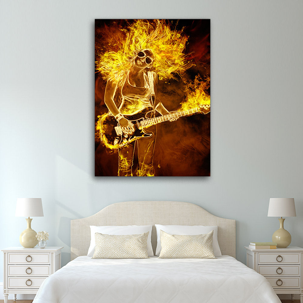 Woman Guitar Fire Abstract Canvas Wall Art