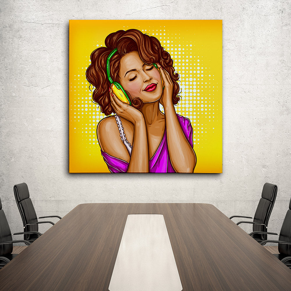 Woman Listening Music Canvas Wall Art