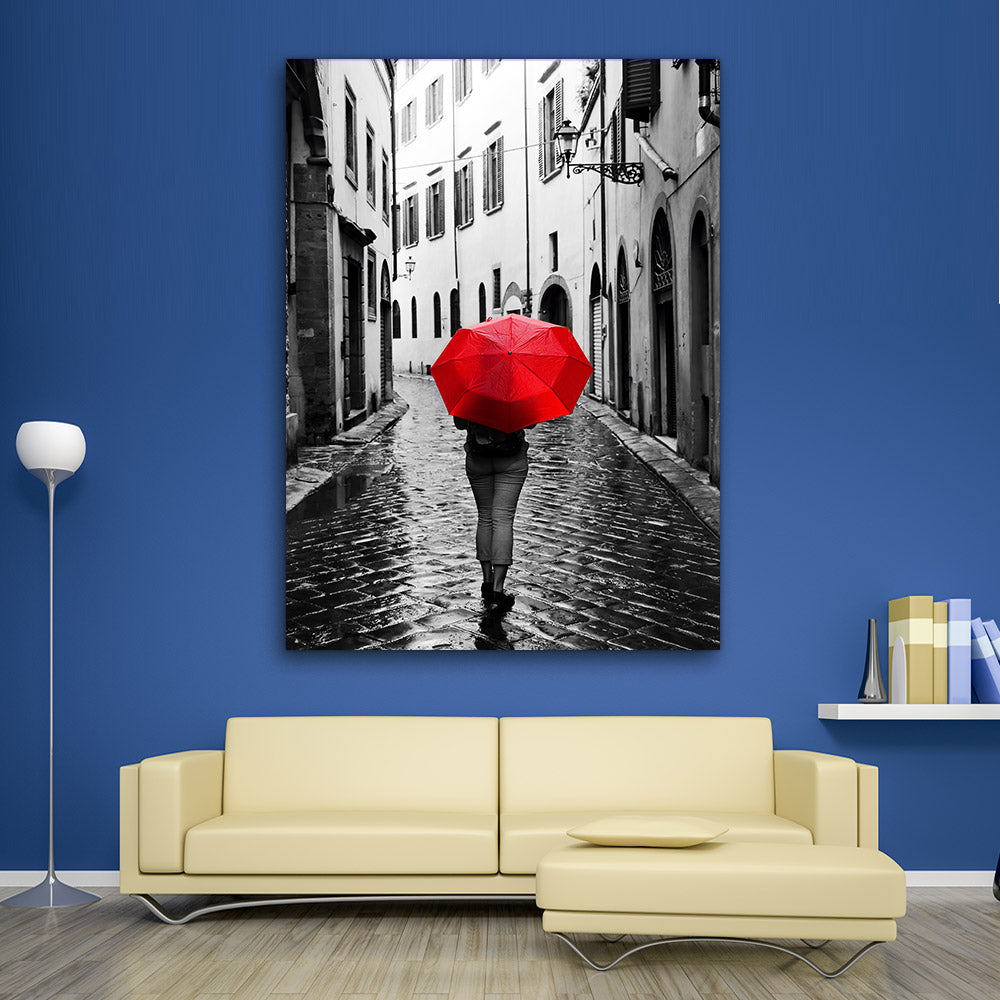 Woman with Red Umbrella Canvas Wall Art