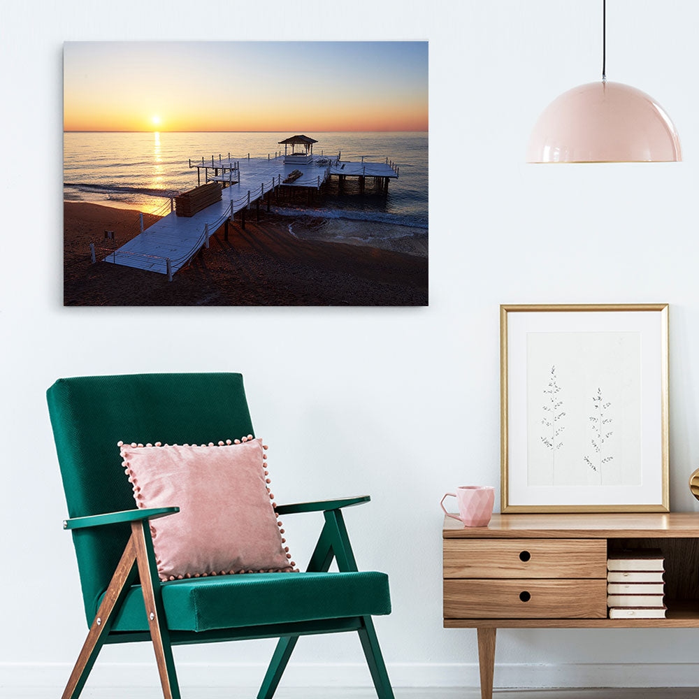 Wooden Pier Sunset Canvas Wall Art