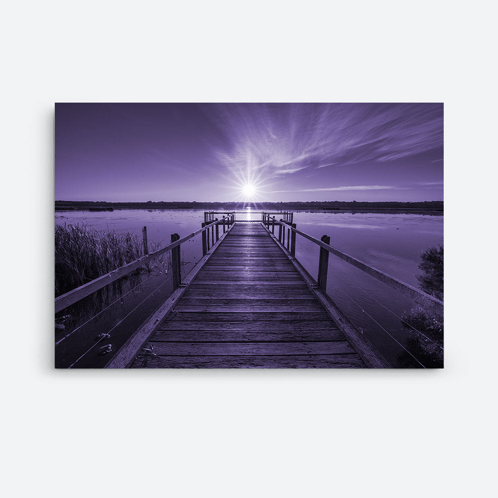 Wooden Pier By Calm Ocean Sunset Nature Canvas Wall Art