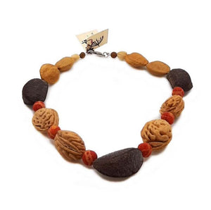 Necklace with peach stones and pumice stone