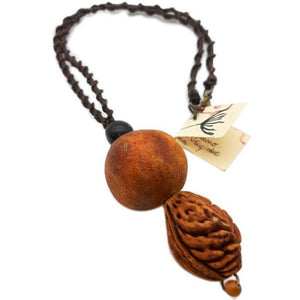 Necklace with Peach, Dried Pomegranate and Sapindus Saponaris