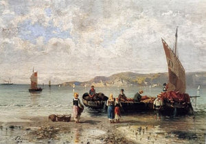 Lithograph with Fishing Boats